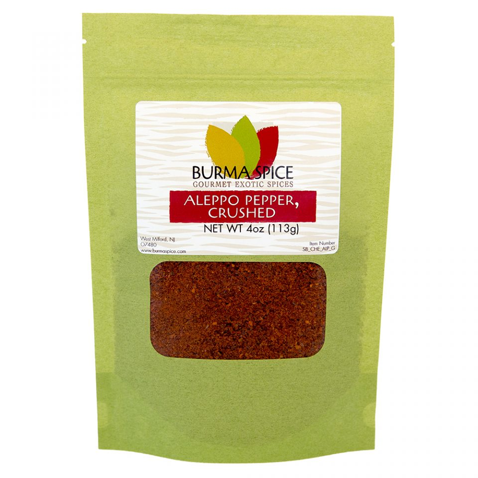 Burma Spice Gourmet Aleppo pepper | 4 ounce resealable bag freshly crushed .