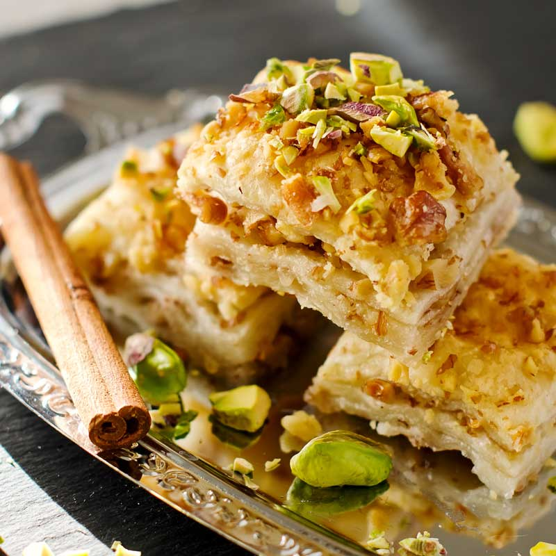 Turkish Baklava with Şerbet and Pistachios