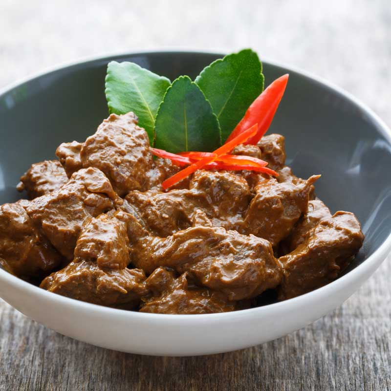 Get Southeast Asian cuisine Indonesian recipe for slow cooked beef rendang from Burma Spice.