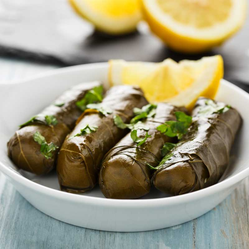 Dolmades (Greek stuffed grape leaves)
