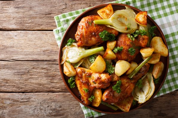 Get Burma Spice recipe for Moroccan chicken with fennel and potatoes.