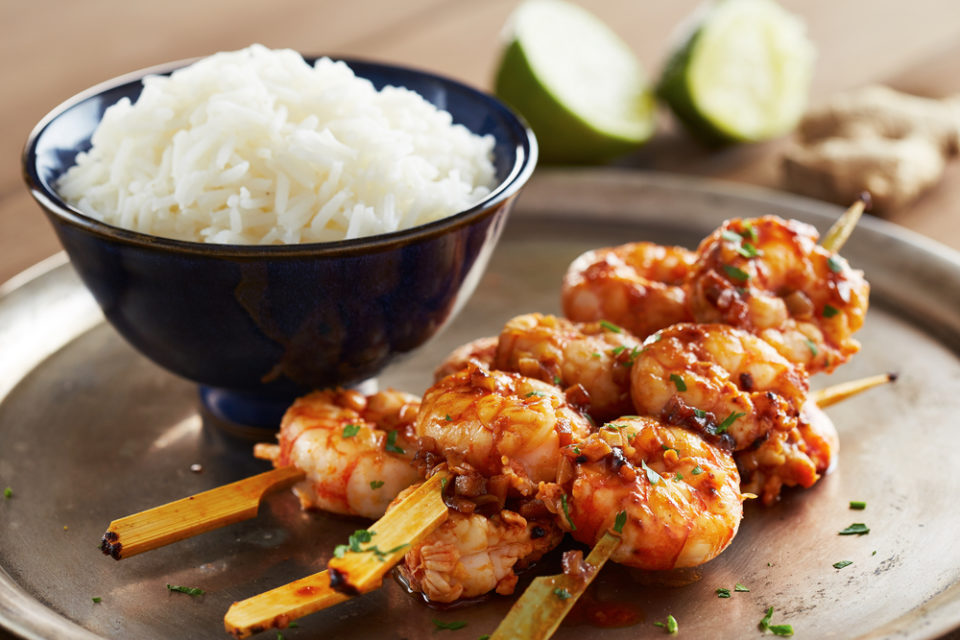 Tart and Spicy Shrimp Skewers
